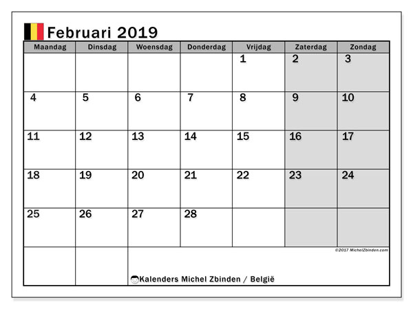 Kalender februari 2019 met de feestdagen van België. Schema om gratis te printen.