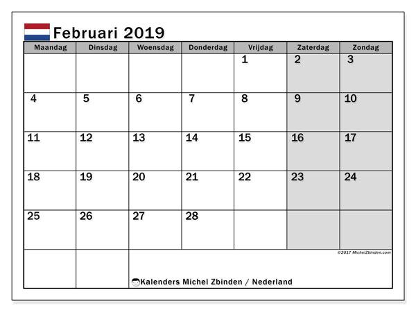 Kalender februari 2019 met de feestdagen van Nederland. Gratis kalender om af te drukken.