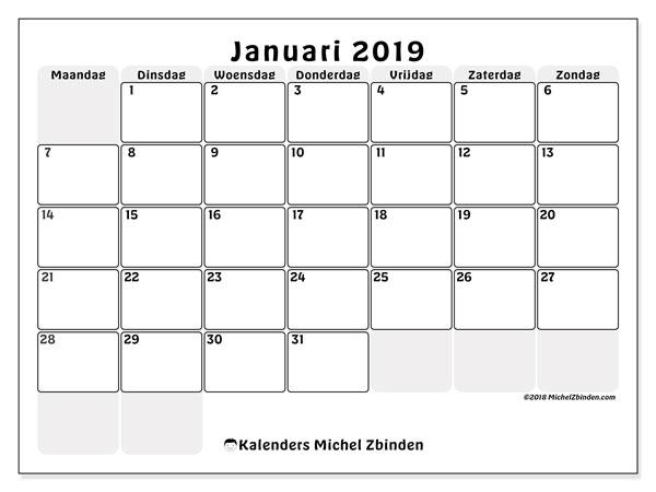 Kalender januari 2019 (44MZ). Agenda om gratis te printen.