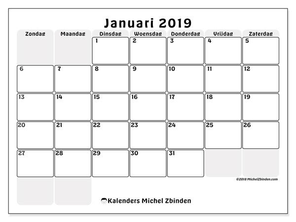 Kalender januari 2019, 44ZZ. Kalender voor de maand die gratis moet worden afgedrukt.