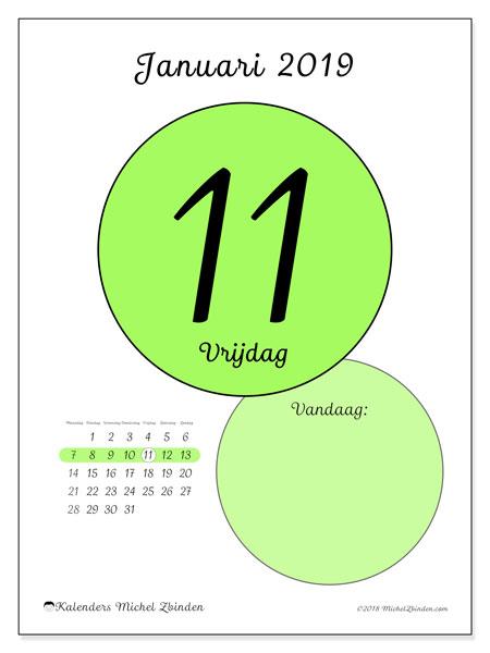 Kalender januari 2019 (45-11MZ). Kalender voor de dag om gratis te printen.