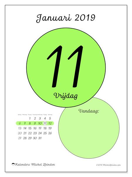 Kalender januari 2019, 45-11ZZ. Dagelijkse kalender om gratis te printen.