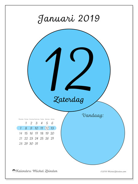 Kalender januari 2019 (45-12MZ). Dagelijkse kalender om gratis te printen.