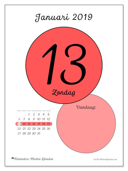 Kalender januari 2019, 45-13ZZ. Kalender voor de dag om gratis te printen.