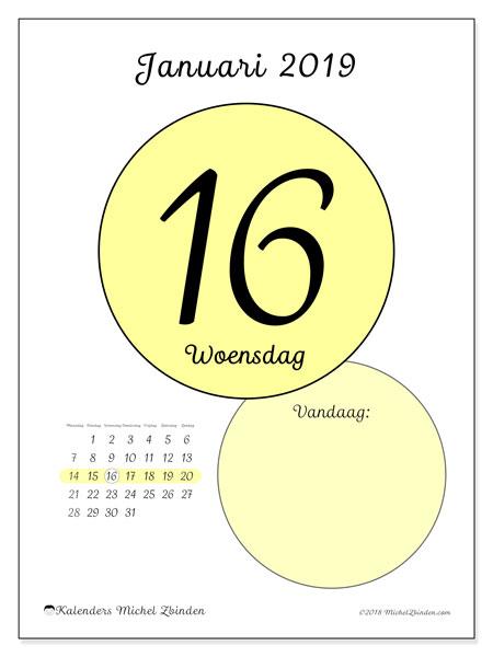 Kalender januari 2019, 45-16MZ. Dagelijkse kalender om gratis te printen.