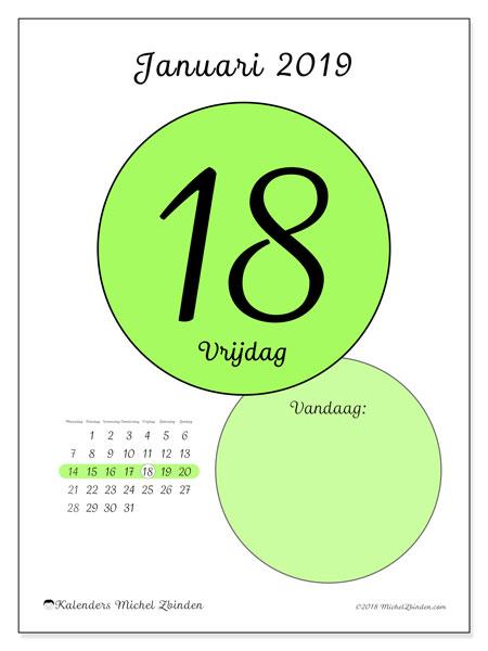 Kalender januari 2019, 45-18MZ. Dagelijkse kalender om gratis te printen.