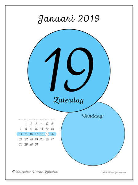 Kalender januari 2019 (45-19MZ). Dagelijkse kalender om gratis te printen.