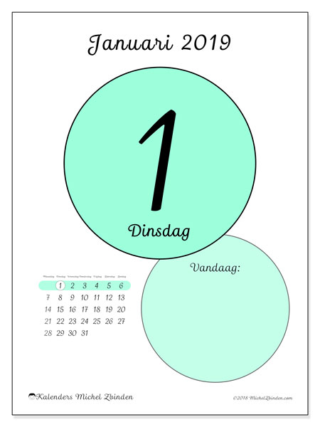 Kalender januari 2019 (45-1MZ). Dagelijkse kalender om gratis te printen.