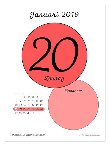 Kalender januari 2019, 45-20ZZ. Dagelijkse kalender om gratis te printen.