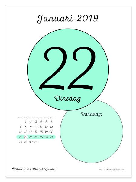 Kalender januari 2019, 45-22MZ. Kalender voor de dag om gratis te printen.