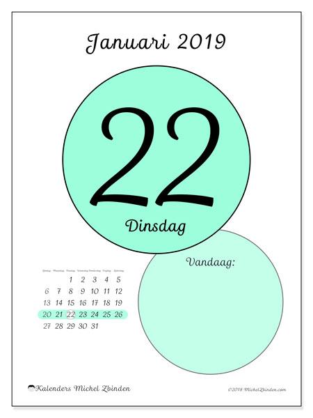 Kalender januari 2019, 45-22ZZ. Kalender voor de dag om gratis te printen.