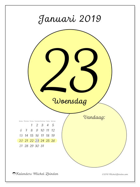 Kalender januari 2019, 45-23ZZ. Dagelijkse kalender om gratis te printen.