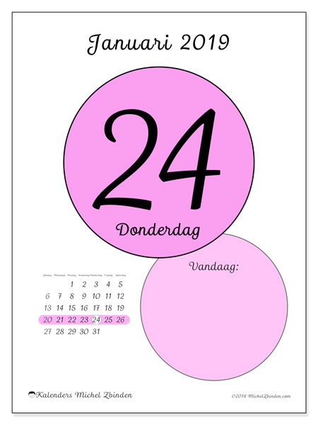 Kalender januari 2019, 45-24ZZ. Dagelijkse kalender om gratis te printen.
