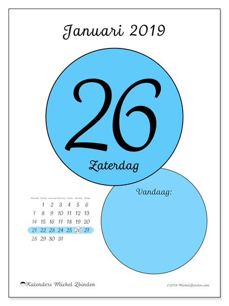Kalender januari 2019, 45-26MZ. Dagelijkse kalender om gratis te printen.
