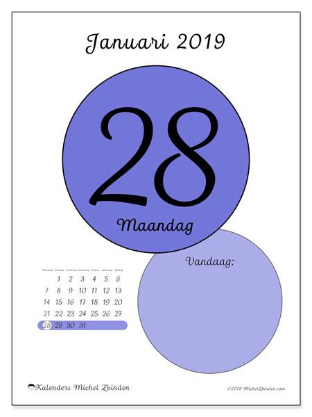 Kalender januari 2019, 45-28MZ. Dagelijkse kalender om gratis te printen.