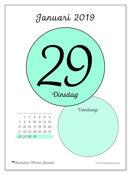 Kalender januari 2019, 45-29MZ. Dagelijkse kalender om gratis te printen.