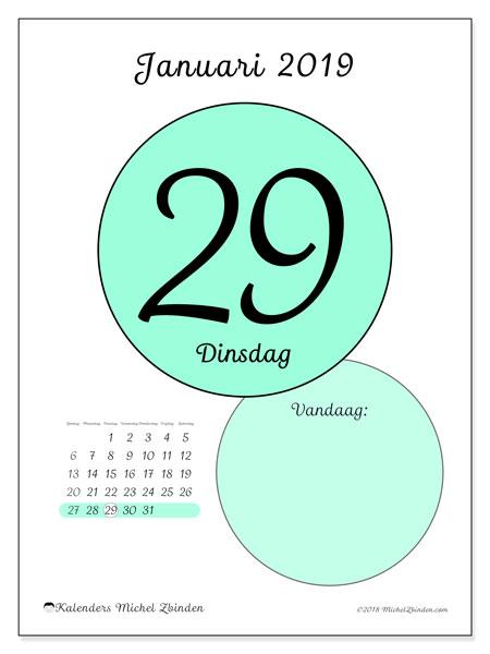 Kalender januari 2019, 45-29ZZ. Kalender voor de dag om gratis te printen.