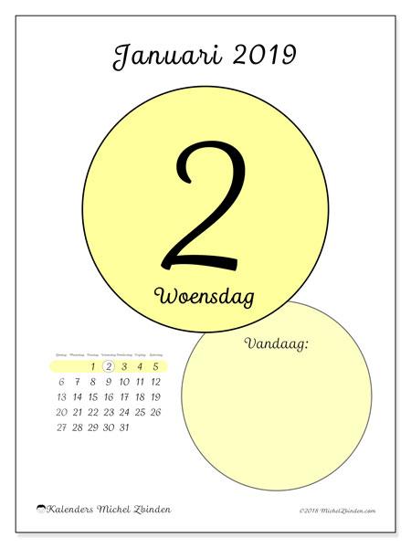 Kalender januari 2019, 45-2ZZ. Dagelijkse kalender om gratis te printen.