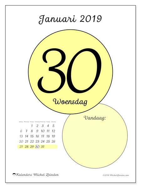 Kalender januari 2019, 45-30ZZ. Kalender voor de dag om gratis te printen.