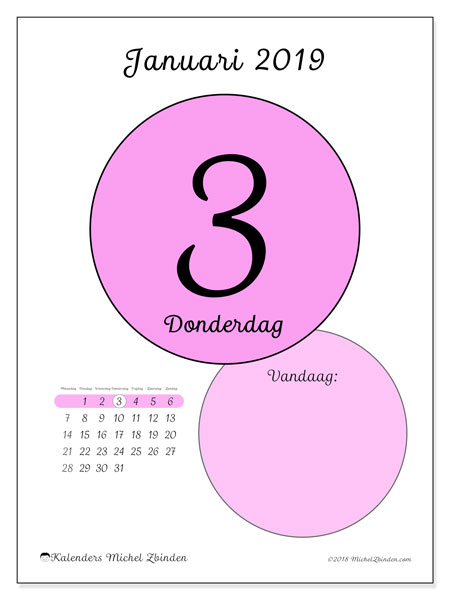 Kalender januari 2019, 45-3MZ. Dagelijkse kalender om gratis te printen.
