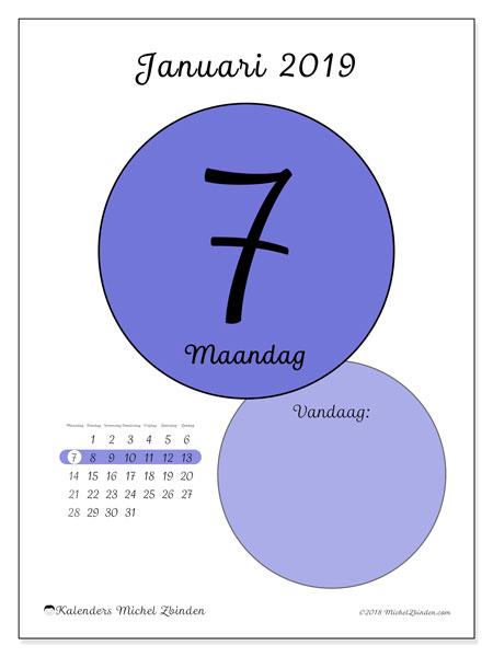 Kalender januari 2019, 45-7MZ. Dagelijkse kalender om gratis te printen.