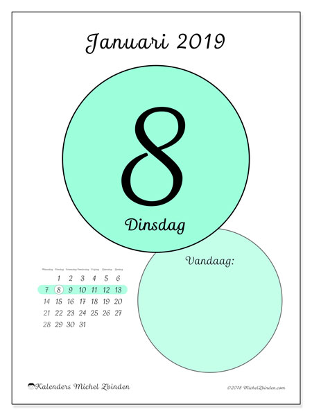 Kalender januari 2019 (45-8MZ). Kalender voor de dag om gratis te printen.