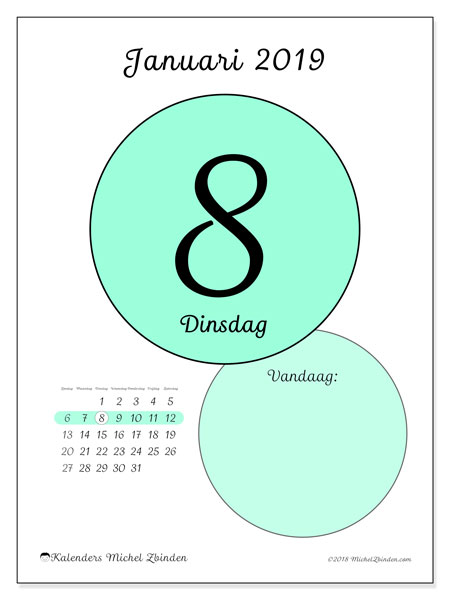 Kalender januari 2019, 45-8ZZ. Dagelijkse kalender om gratis te printen.