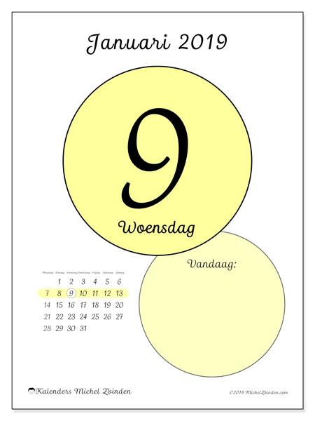 Kalender januari 2019 (45-9MZ). Dagelijkse kalender om gratis te printen.