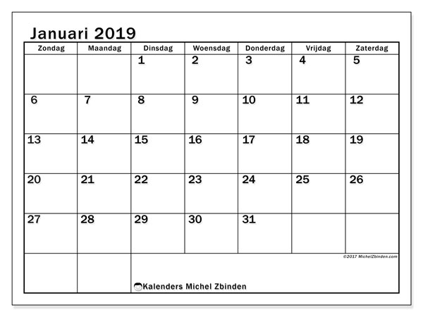 Kalender januari 2019, 50ZZ. Kalender om gratis te printen.