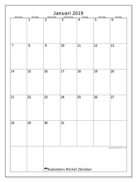 Kalender januari 2019 (52MZ). Kalender om gratis te printen.