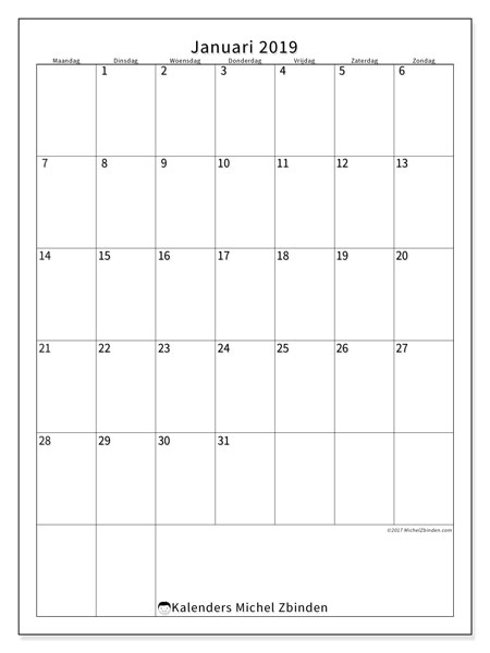 Kalender januari 2019, 52MZ. Kalender om gratis af te drukken.