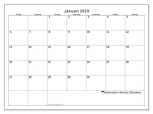 Kalender januari 2019, 53ZZ. Maandkalender om gratis te printen.