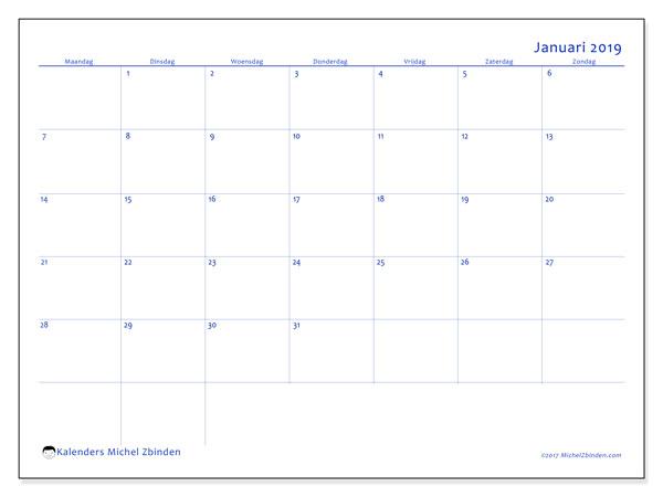 Kalender januari 2019 (55MZ). Agenda om gratis te printen.