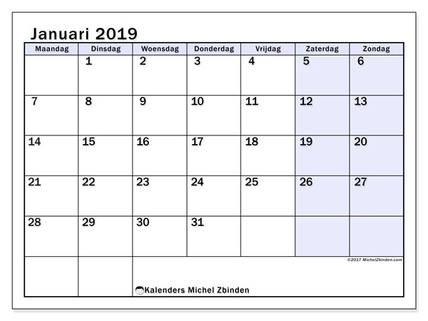 Kalender januari 2019, 57MZ. Kalender om gratis af te drukken.