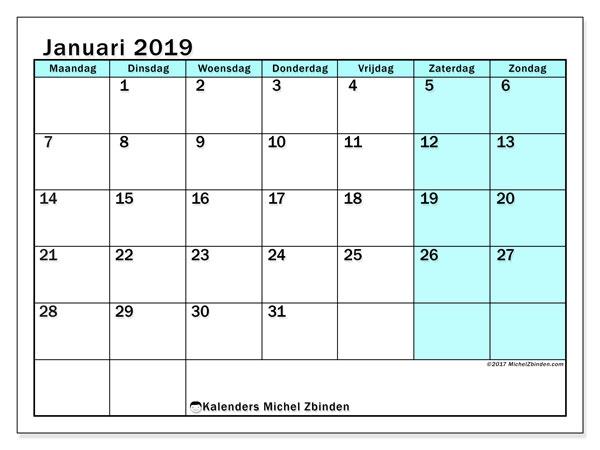 Kalender januari 2019 (59MZ). Agenda om gratis te printen.