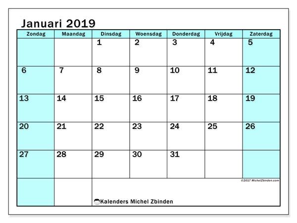 Kalender januari 2019, 59ZZ. Gratis kalender om af te drukken.