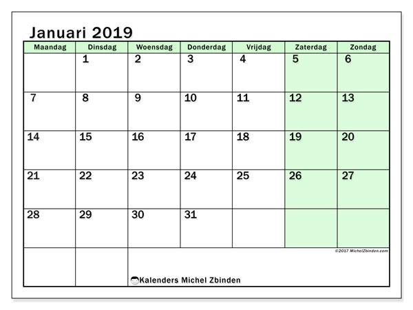 Kalender januari 2019, 60MZ. Gratis kalender om af te drukken.