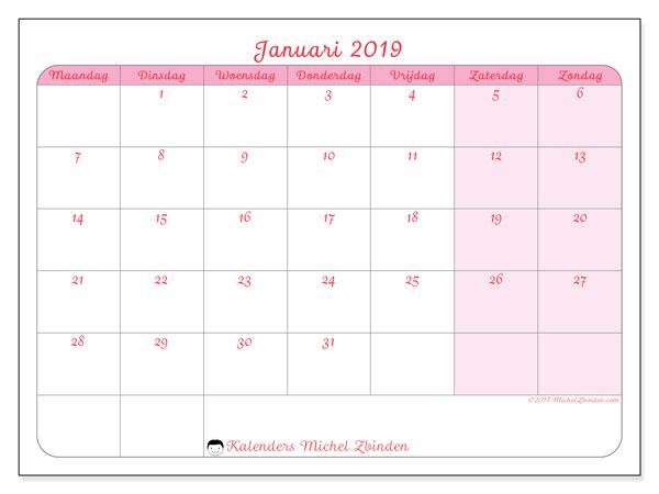 Kalender januari 2019 (63MZ). Kalender voor de maand die gratis moet worden afgedrukt.
