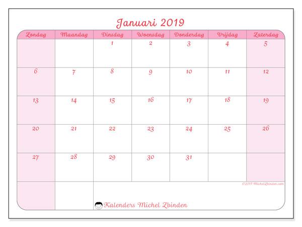 Kalender januari 2019, 63ZZ. Kalender voor de maand die gratis moet worden afgedrukt.