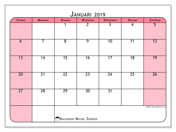 Kalender januari 2019, 64ZZ. Gratis afdrukbare kalender.