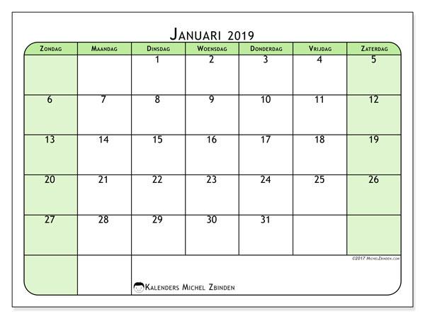 Kalender januari 2019, 65ZZ. Kalender voor de maand die gratis moet worden afgedrukt.