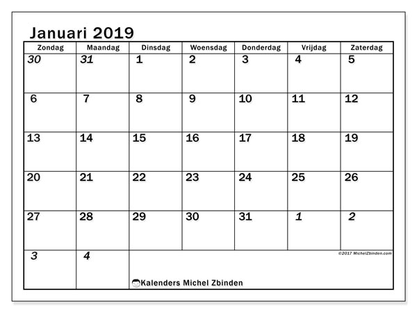 Kalender januari 2019, 66ZZ. Gratis afdrukbare kalender.