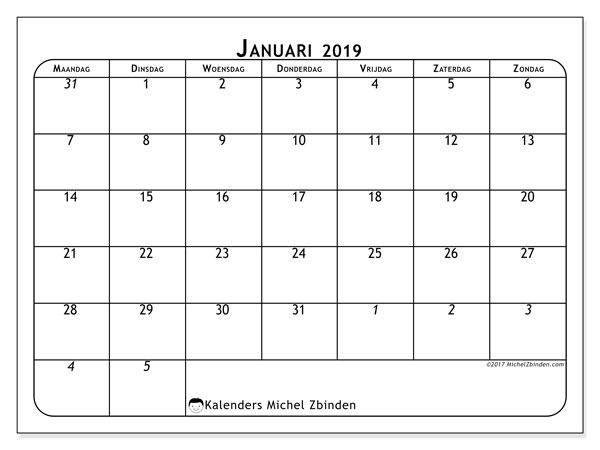 Kalender januari 2019, 67MZ. Gratis printbare kalender.
