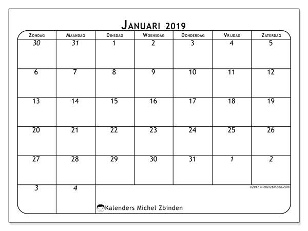 Kalender januari 2019, 67ZZ. Gratis kalender om af te drukken.