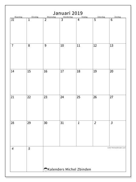 Kalender januari 2019, 68MZ. Kalender om gratis te printen.