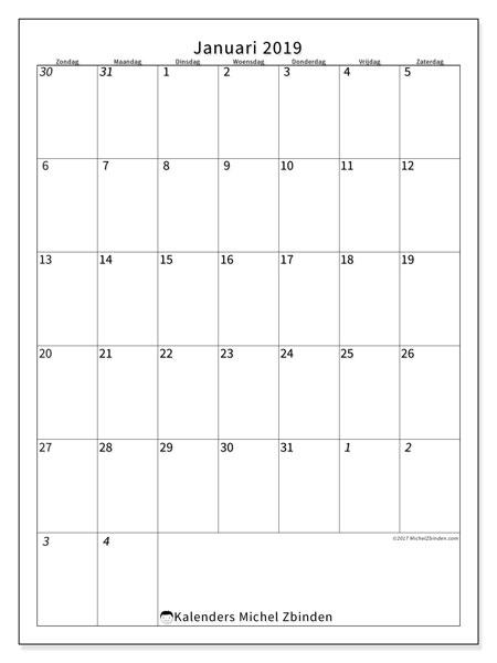 Kalender januari 2019, 68ZZ. Kalender om gratis te printen.