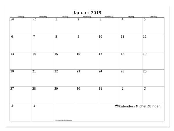 Kalender januari 2019, 70ZZ. Gratis kalender om af te drukken.