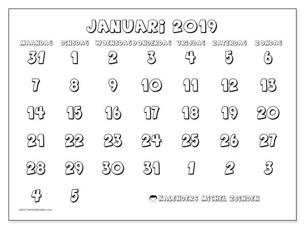 Kalender januari 2019 (71MZ). Gratis printbare kalender.
