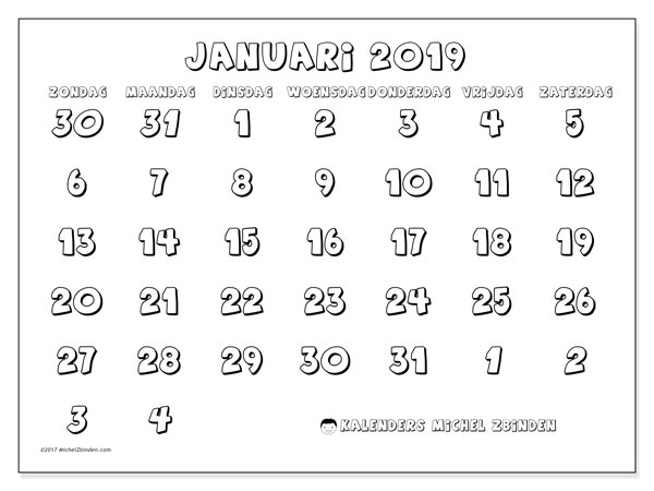 Kalender januari 2019, 71ZZ. Gratis kalender om af te drukken.