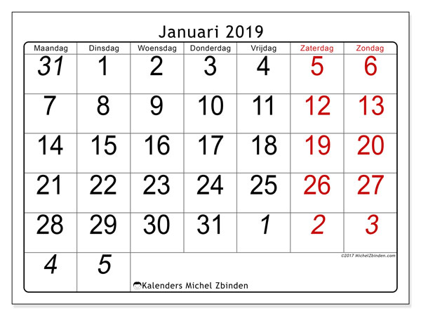 Kalender januari 2019, 72MZ. Kalender voor de maand die gratis moet worden afgedrukt.